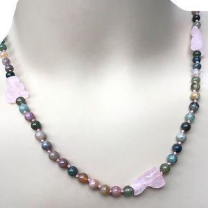 "Agate Necklace W/Rose Quartz NWT 27"""